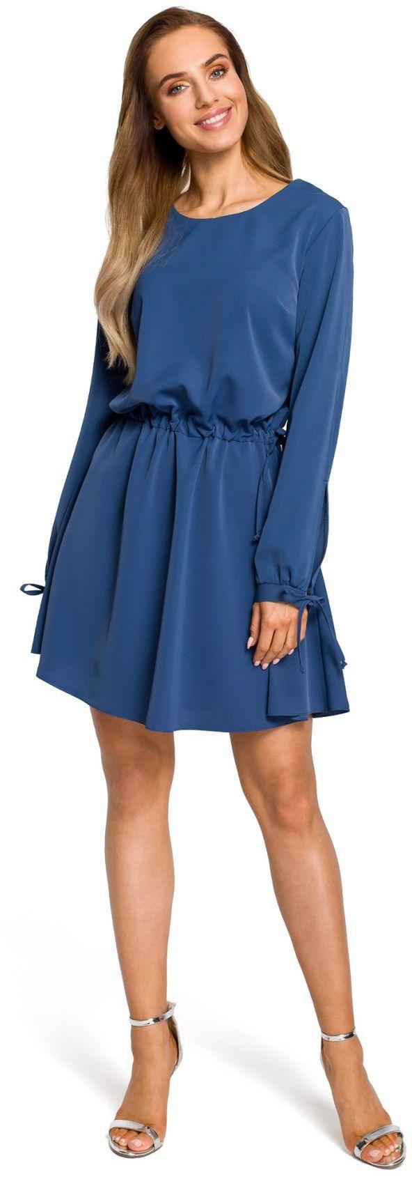 M426 Sukienka z rozciętymi rękawami - niebieska