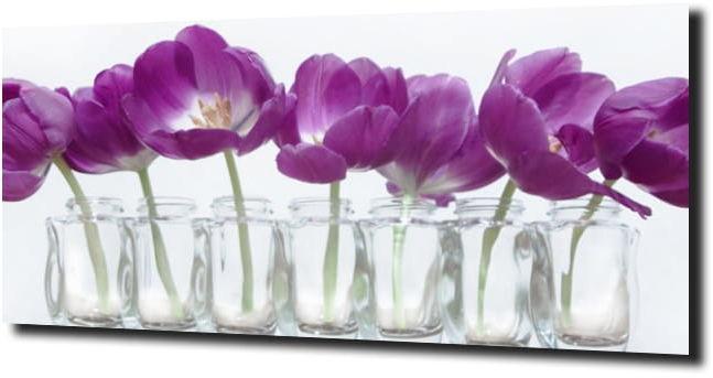 obraz na szkle, panel szklany Tulipany 50 125X50