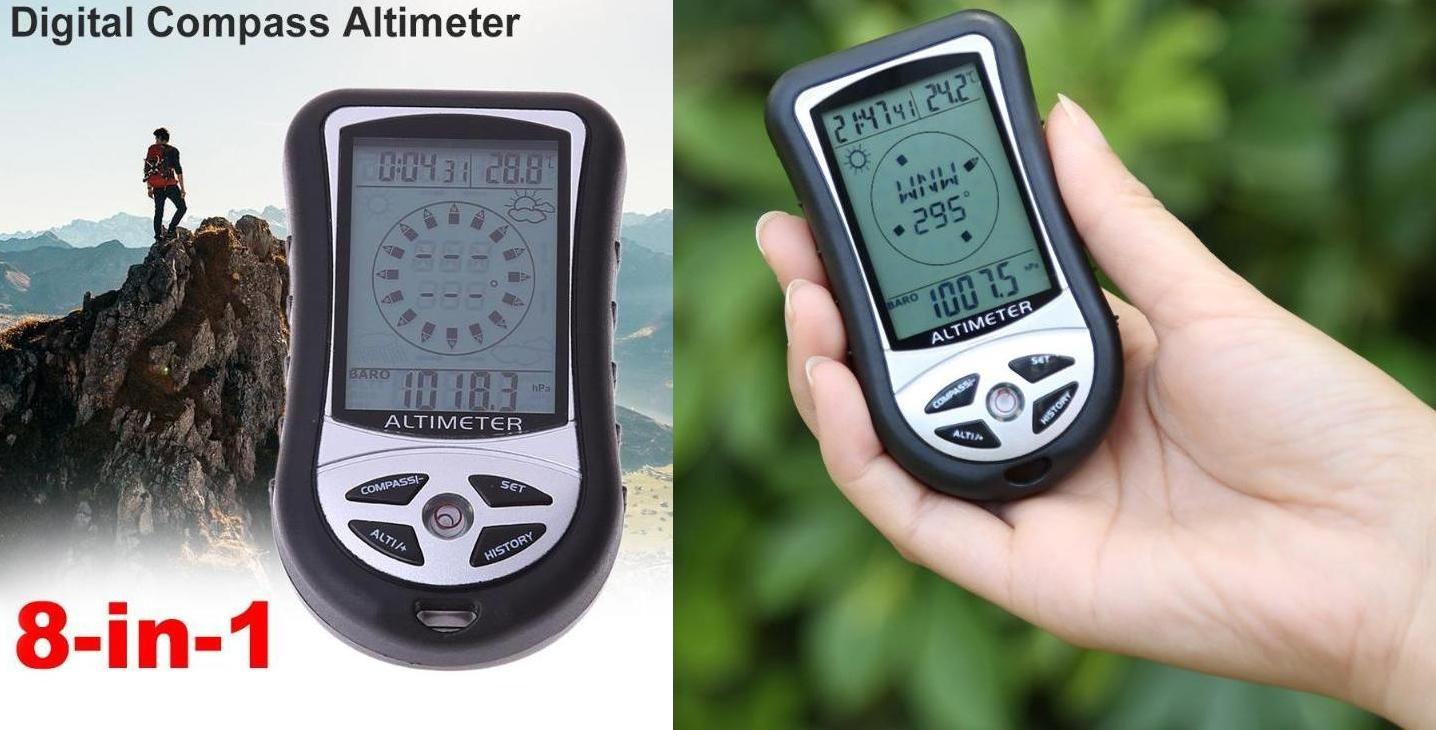 ALTIMETR: Wysokościomierz+Prognoza Pogody+Barometr+Kompas+Termometr+Zegar+Podświetlenie+...