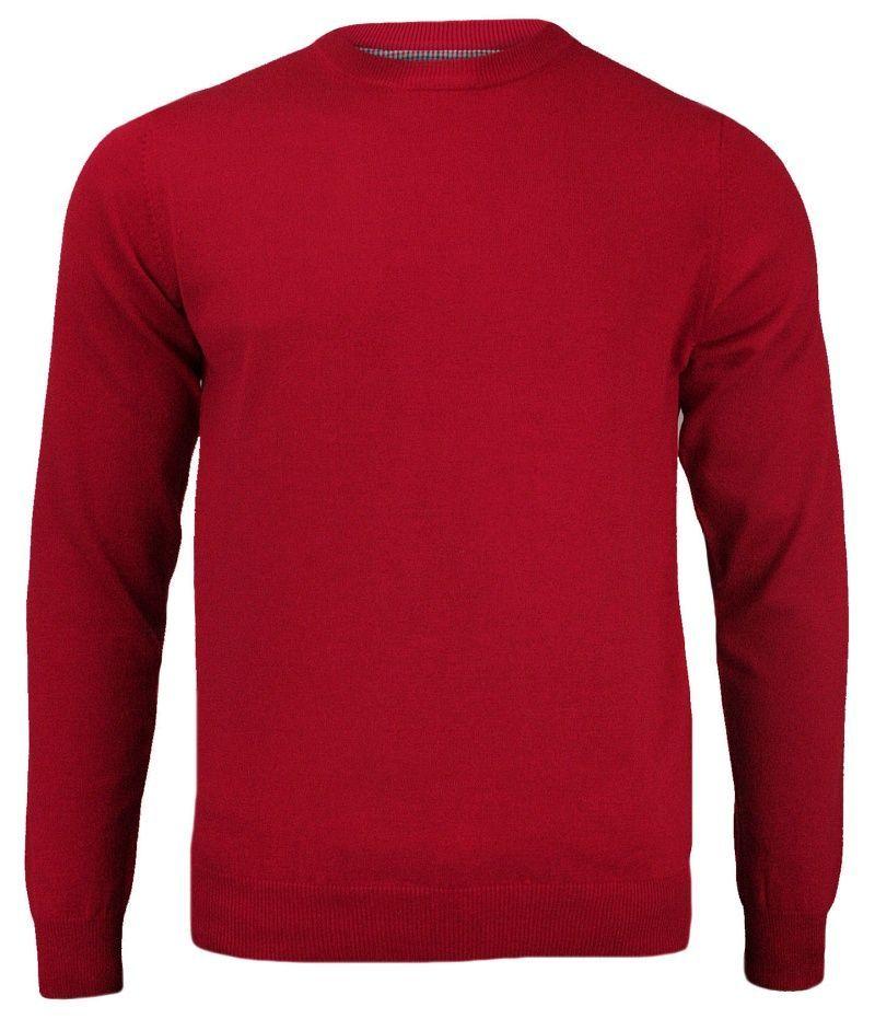 Sweter Czerwony Klasyczny Męski Bawełniany, Okrągły Dekolt (U-neck) - Adriano Guinari SWADGAW18skipatrolU