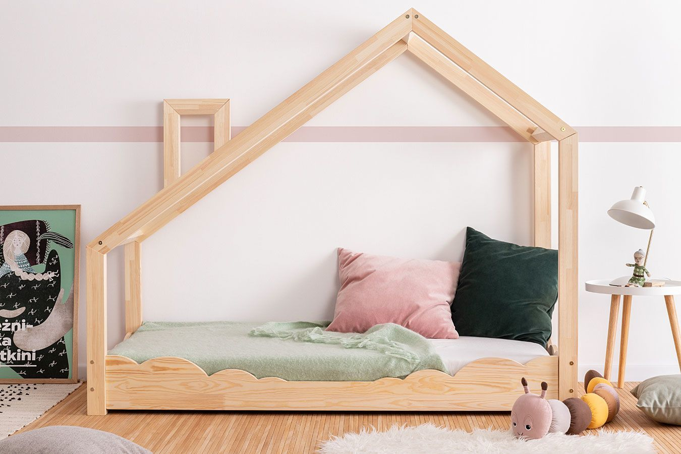 Drewniane łóżko dziecięce domek Lumo 5X - 28 rozmiarów