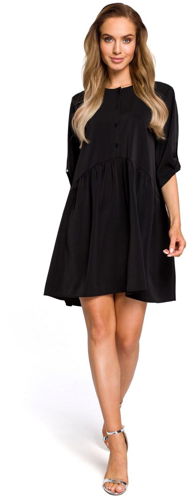 M427 Luźna sukienka marszczona w pasie - czarna