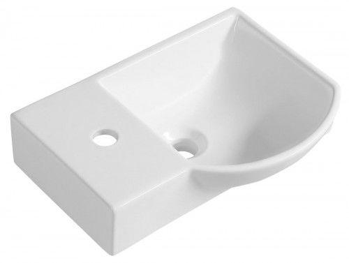Umywalka ceramiczna lewa 45x32 cm podwieszana biała LITOS