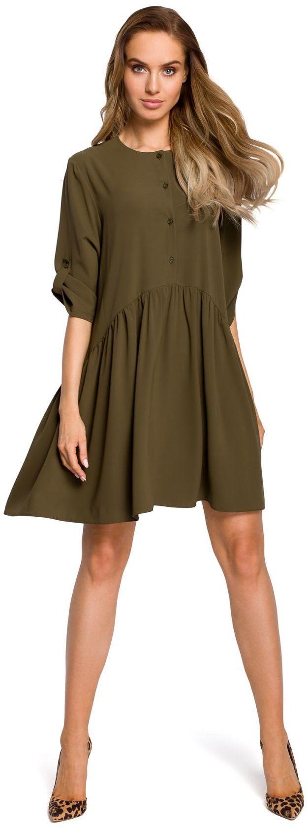 M427 Luźna sukienka marszczona w pasie - khaki