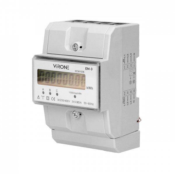 3-fazowy wskaźnik zużycia energii elektrycznej, 80A, 3 moduły, DIN TH-35mm