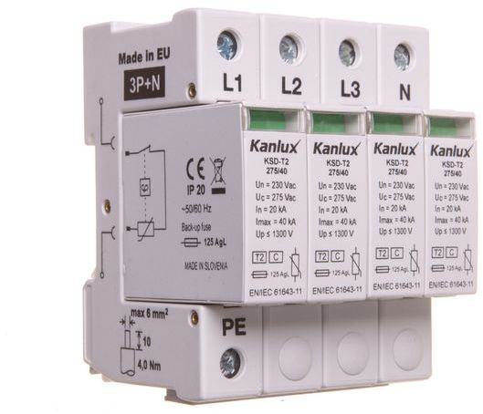 Ogranicznik przepięć C Typ 2 3P+N 20kA 1,3kV KSD-T2 275/160 3P+N 23133