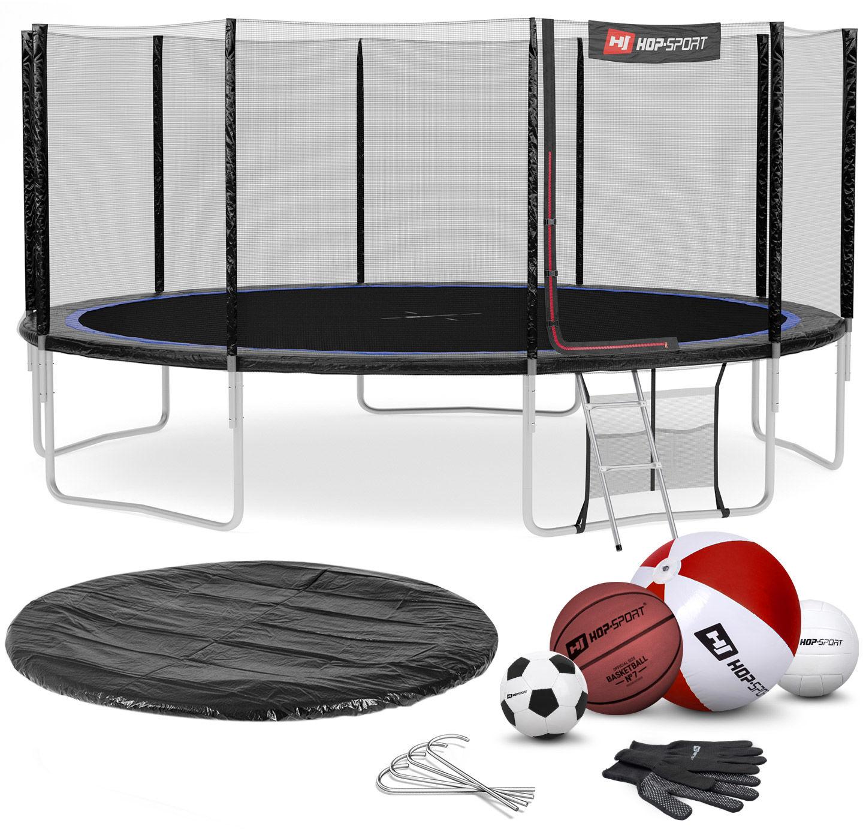Trampolina Hop-Sport 16ft (488cm) czarno-niebieska z siatką zewnętrzną