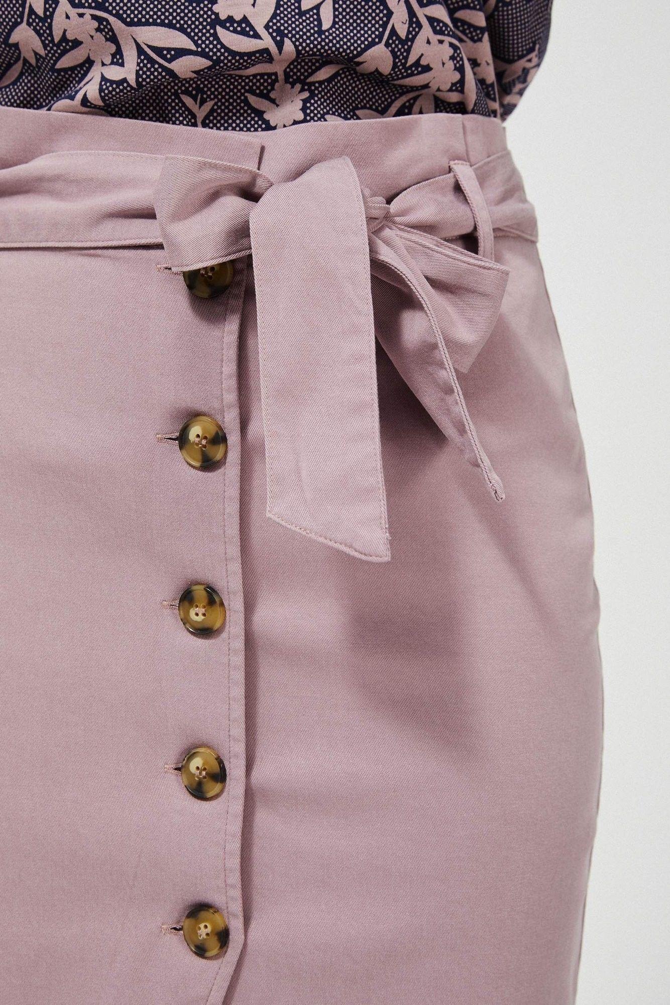 Spódnica różowa z wysokim stanem lyocell z wiązaniem