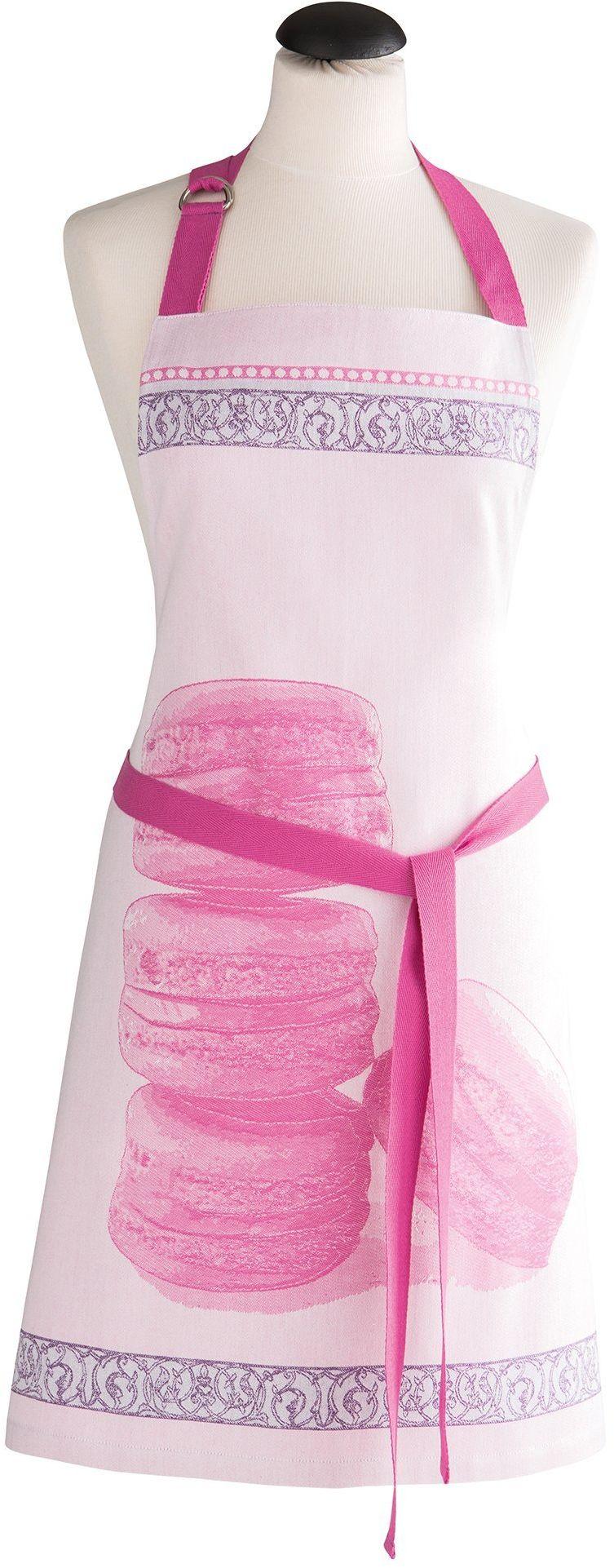 Coucke 3152195087612 Macaron różowy fartuch bawełna 70 x 82 x 0,3 cm
