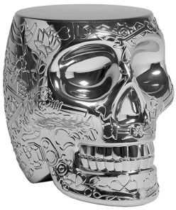 Stołek i stolik boczny Mexico srebrny QueeBoo
