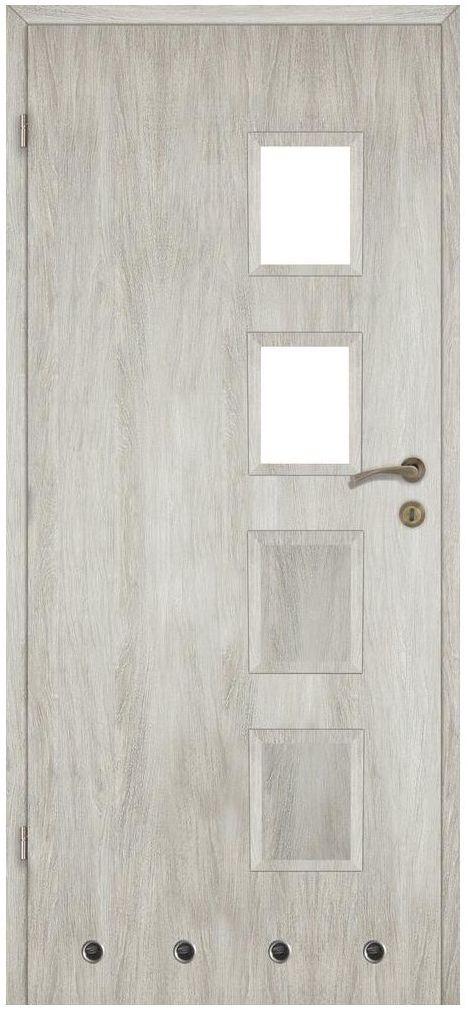 Skrzydło drzwiowe z tulejami wentylacyjnymi ALBA Dąb silver 80 Lewe ARTENS