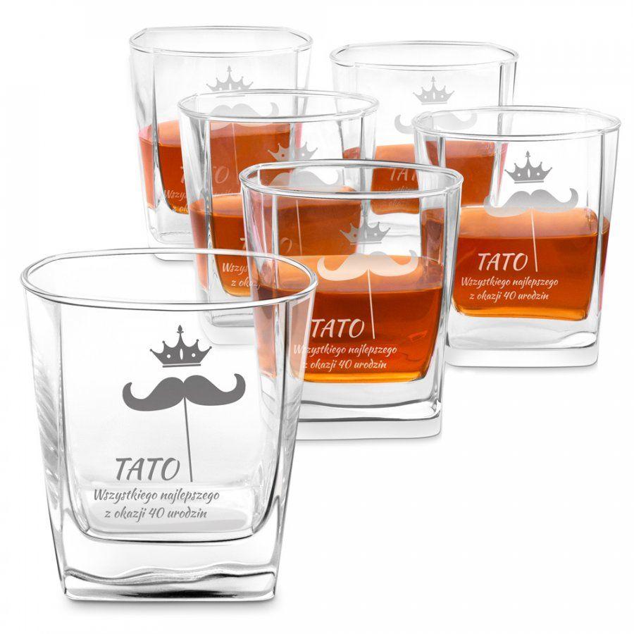 Szklanki grawerowane do whisky x6 komplet dedykacja dla taty na 30