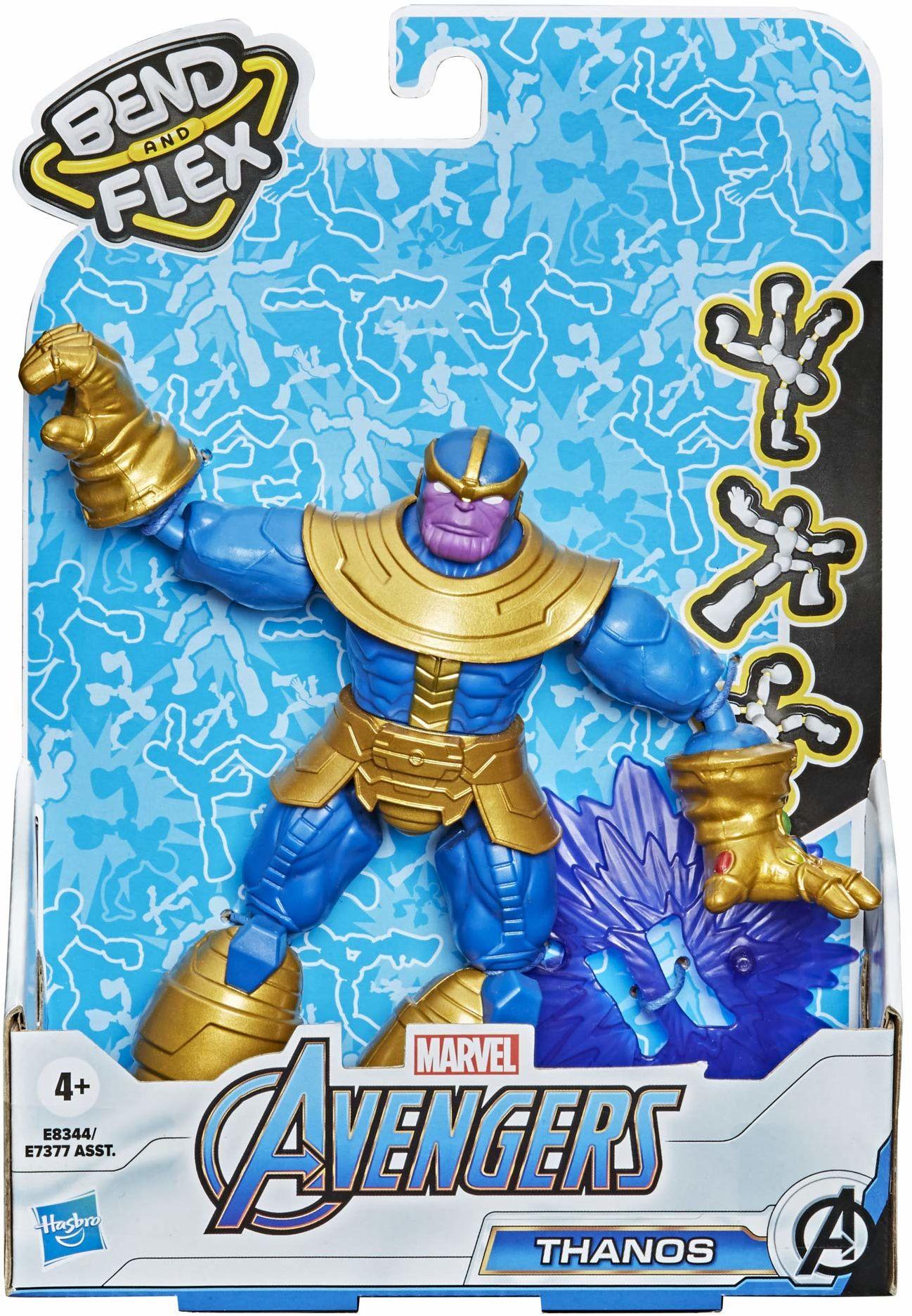 Marvel Avengers Bend And Flex figurka akcji, 15 cm duża giętka figura Thanos, zawiera efektowny dodatek, dla dzieci od 6 lat