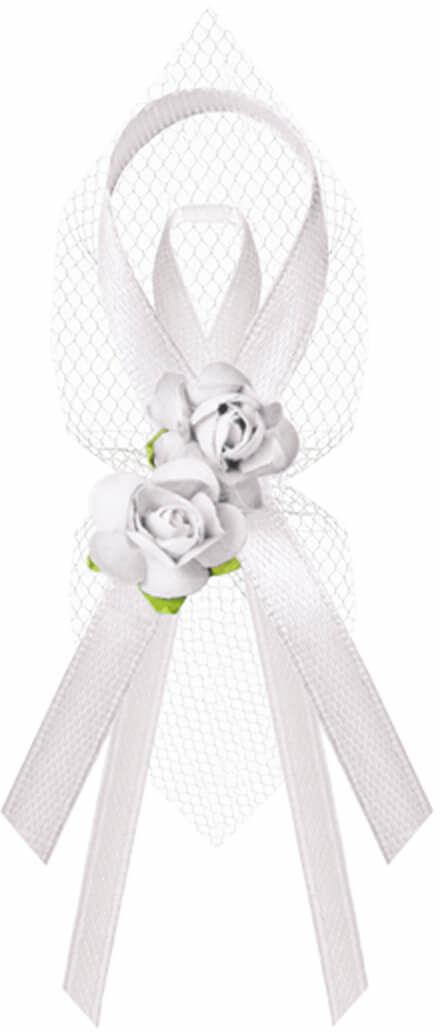 Kotyliony z różyczkami dla gości weselnych białe - 6 szt.