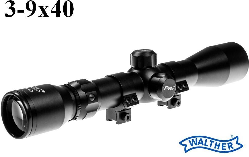 Profesjonalna Luneta Celownicza (do wiatrówek...) Walther 3-9x40 + Montaż + Nakładki na Obiektywy.