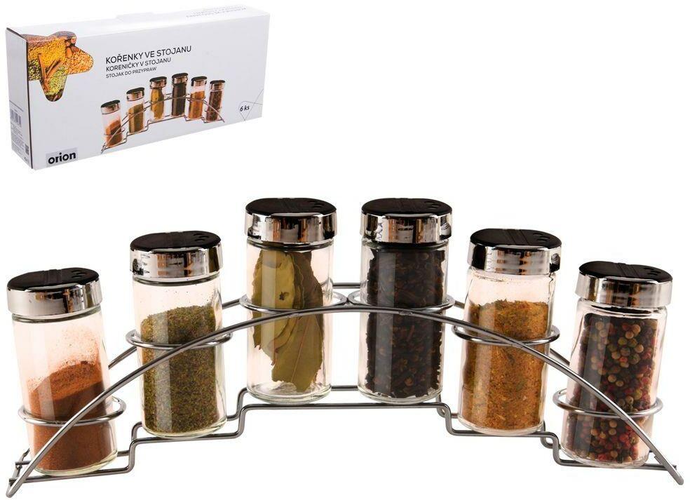 Przyprawnik pojemniki na przyprawy 6 sztuk + stojak półka