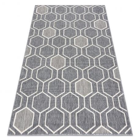 Dywan SPRING 20404332 Hexagon sznurkowy, pętelkowy - szary 80x150 cm