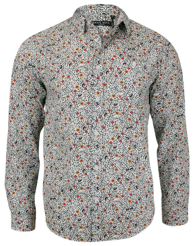 Wzorzysta Casualowa Koszula z Długim Rękawem - BRAVE SOUL - 100% Bawełna, Taliowana, w Kwiaty KSDCBRSAW18MERCUTIO