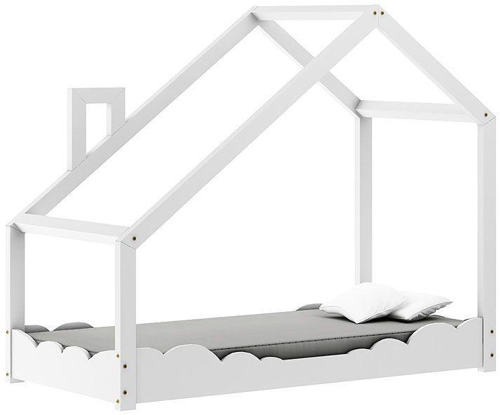 Drewniane łóżko dziecięce domek Lumo 5X - Białe