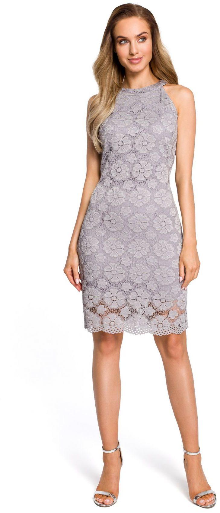 M431 Koronkowa sukienka - szara