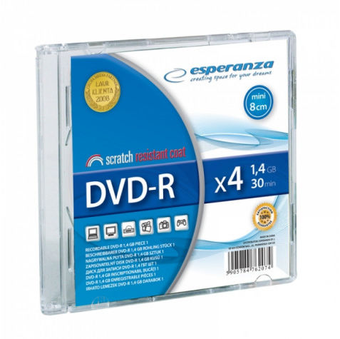 1044 Dvd-r mini esperanza 1,4gb x4 - slim 1 szt.