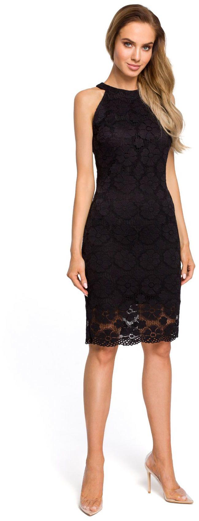 M431 Koronkowa sukienka mała czarna