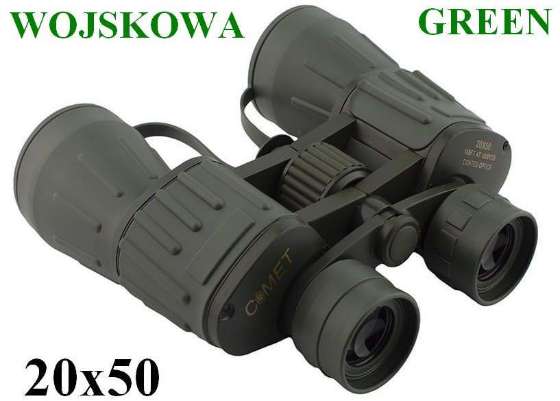 Oryginalna WOJSKOWA Lornetka COMET 20x50 GREEN + Mocowanie Statyw. + Twardy Pokrowiec + Akcesoria.