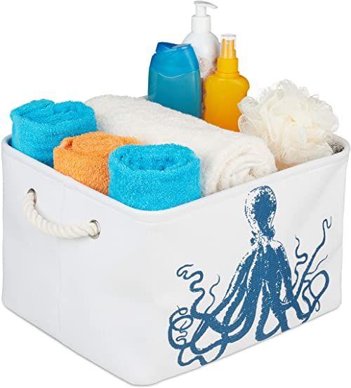 Relaxdays Kosz do przechowywania Ocopus, 2 uchwyty linowe, składany kosz materiałowy morski, wymiary: 23,5 x 36,5 x 31,5 cm, biały/niebieski