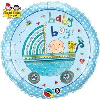 """Balon foliowy """"Baby Boy - niebieski wózek"""" 18"""""""
