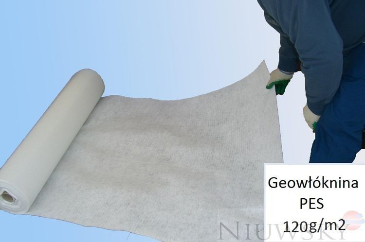 Geowłóknina Poliester PES 120g/m2 1m x 50m