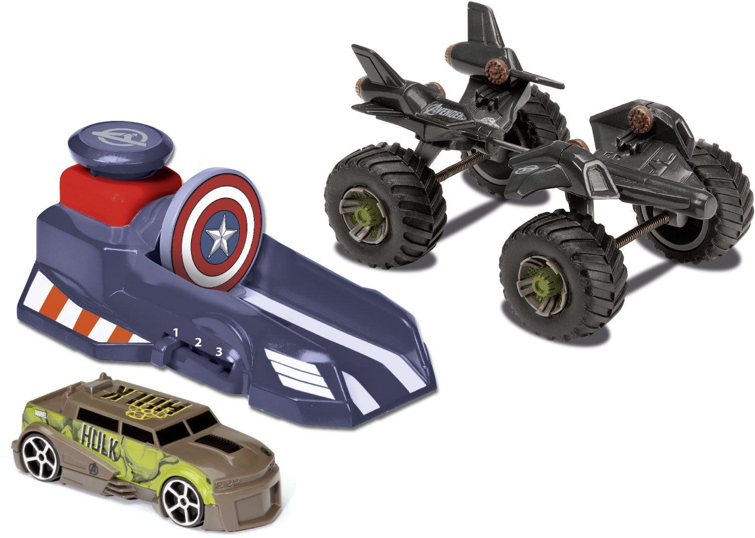 Majorette 213089775 - The Avengers Assemble Hero Set, Launcher z 3 prędkościami, Monster Truck, 2 samochody z wolnym biegiem
