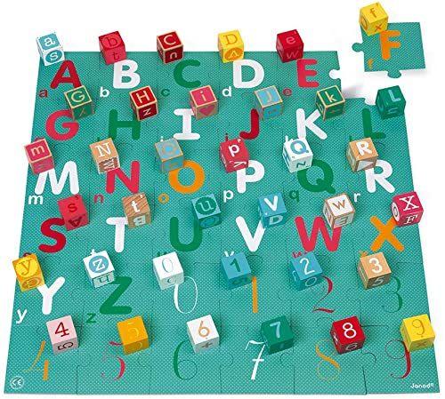 Janod Janod-Kubix-40 36-częściowy zestaw liter i liczb z litego drewna + mata do zabawy w puzzlach, praktyczne przechowywanie farb wodnych, od 2 lat, J08307