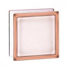 Pustak szklany 198 Pink Frosted EI15 E60 satynowany jednostronnie luksfer 19x19x8 cm