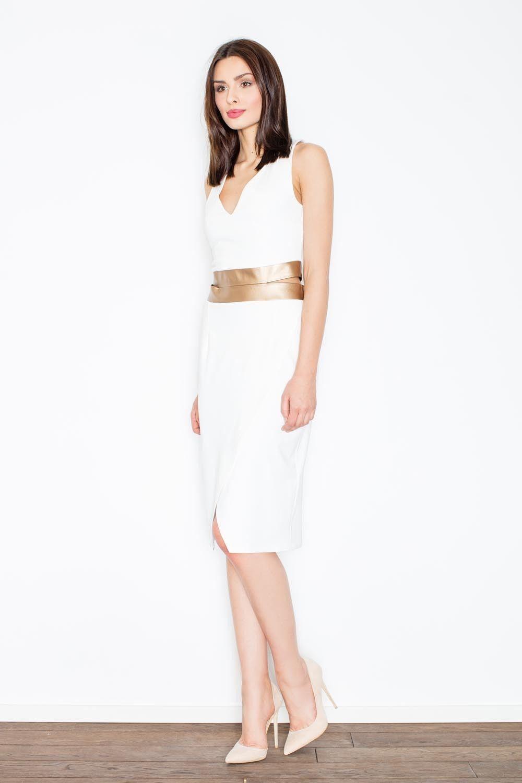 Ecru kobieca sukienka midi z panelami z eko-skóry