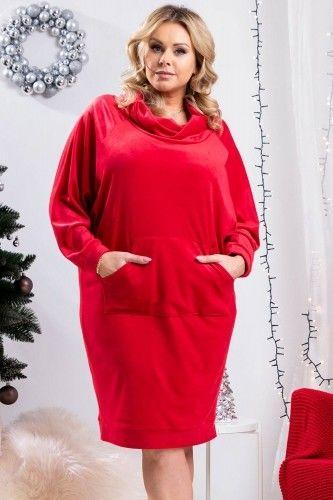 Sukienka na święta VELVET z golfem oversize AURIKA czerwona