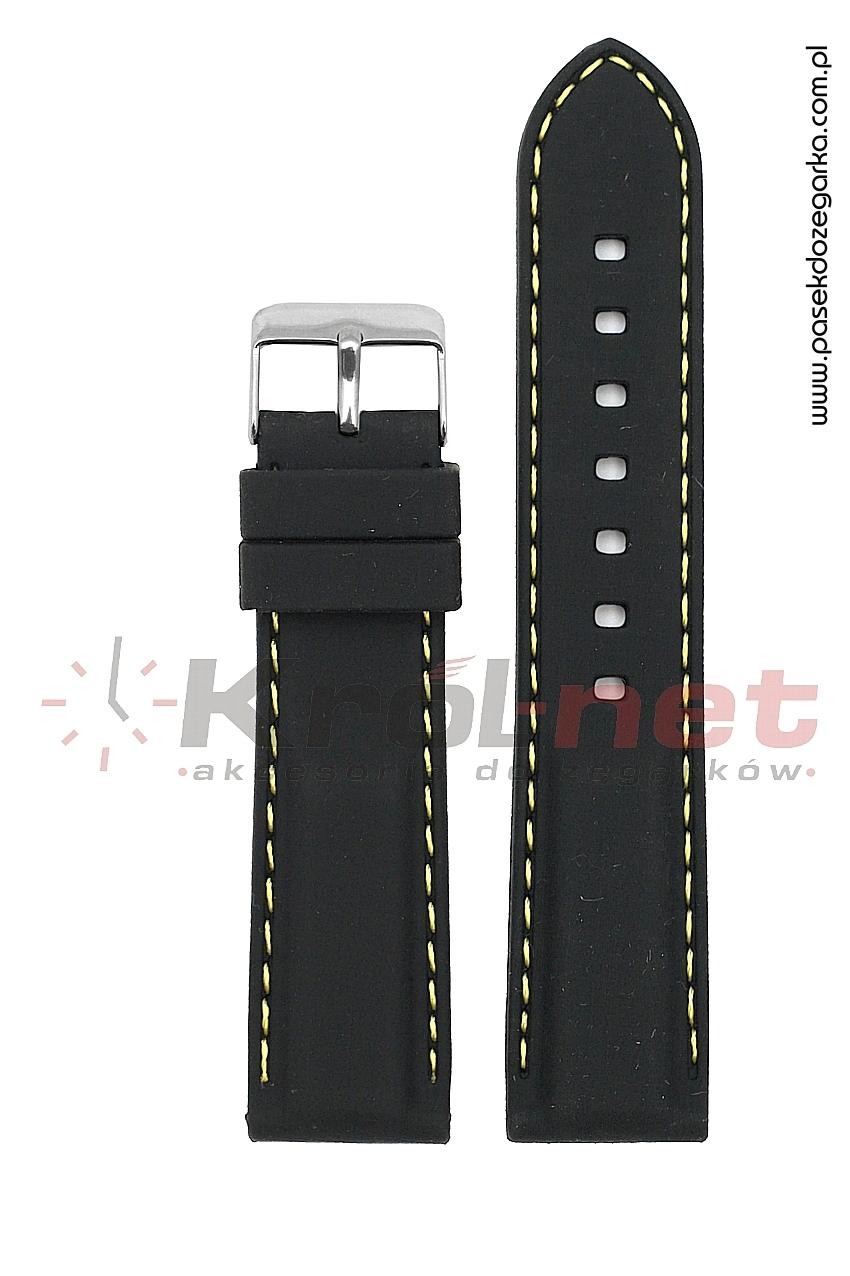 Pasek RP051/Z/22 - czarny, żółte przeszycia