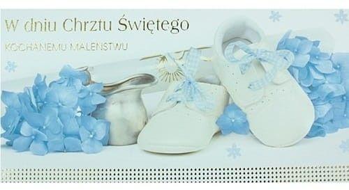 Karnet z okazji Chrztu Świętego, Kochanemu Maleństwu, niebieskie kwiaty DL