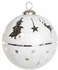 EUROCINSA Ref.28017 szklana kula zawieszka biała ze srebrem z jeleniami, szpilkami i gwiazdami 12 Ø cm 4 sztuki, 12 cm