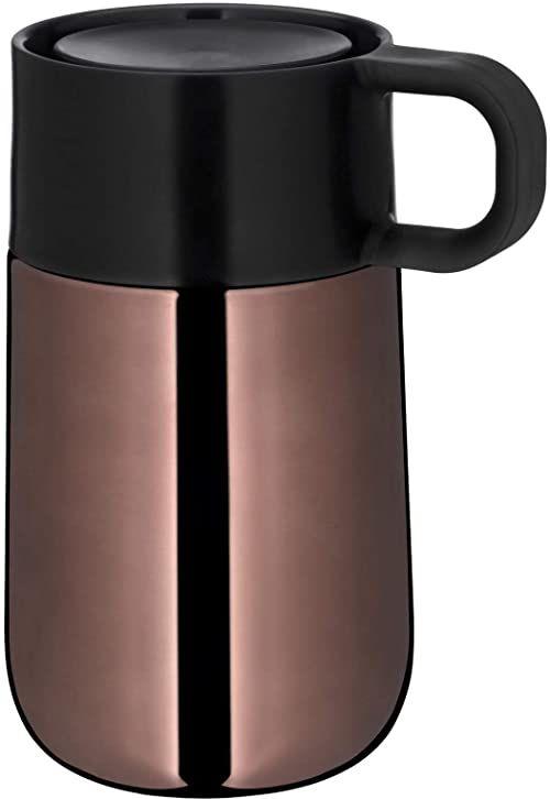 WMF Impulse Travel Mug, kubek termiczny 0,3 l, automatyczne zamknięcie, otwór do picia 360 , utrzymuje ciepło napojów przez 6 h / 12 h zimno, miedź
