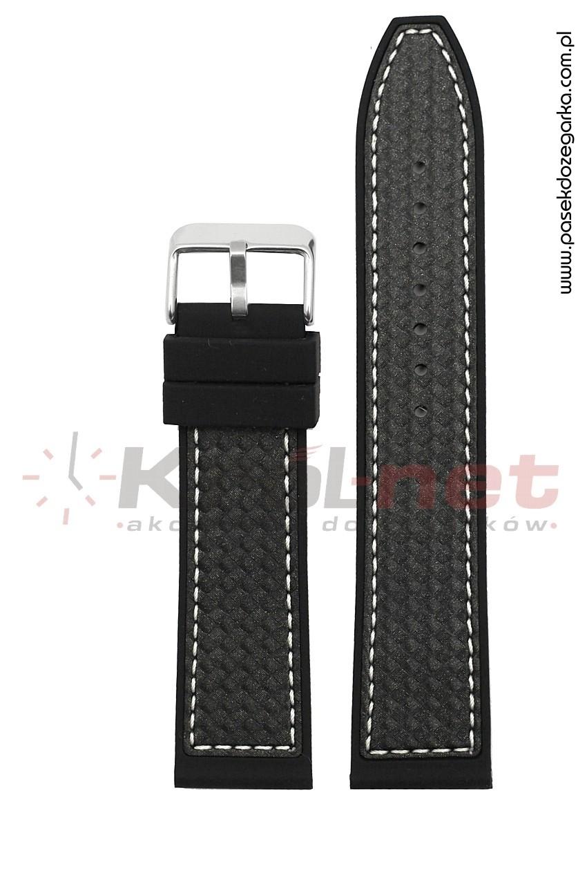Pasek RP057/B/22 - czarny, imitacja karbonu, long