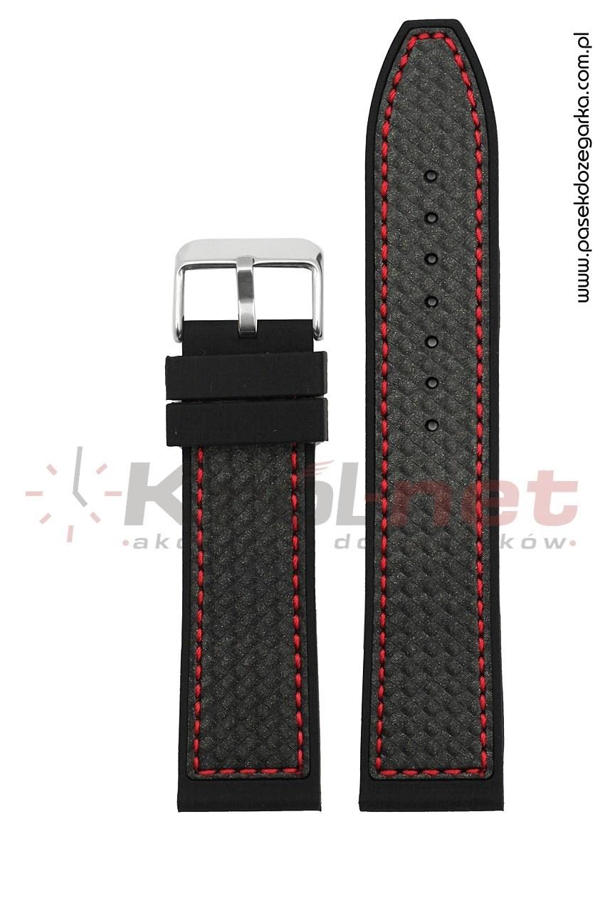 Pasek RP057/C/20 - czarny, imitacja karbonu, long