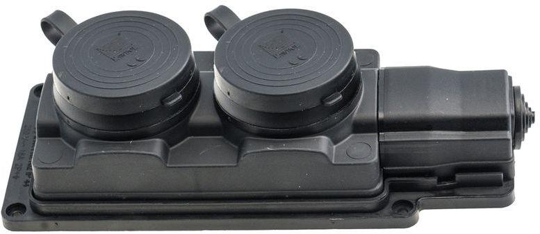 Przedłużacz gumowy 2-gniazda z/u 5m /H05RN-F 3G1,5/ czarny D.3159/2-5