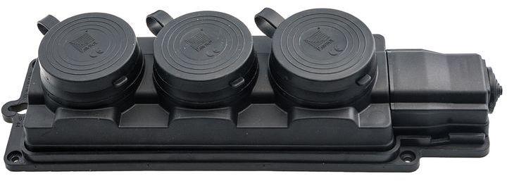 Przedłużacz gumowy 3-gniazda z/u 5m /H05RN-F 3G1,5/ czarny IP44 D.3159/3-5