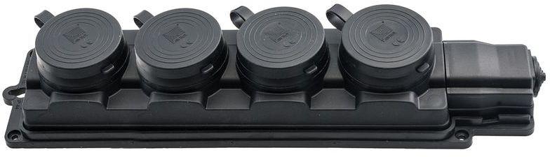 Przedłużacz gumowy 4-gniazda z/u 3m /H05RN-F 3G1,5/ czarny IP44 D.3159/4-3