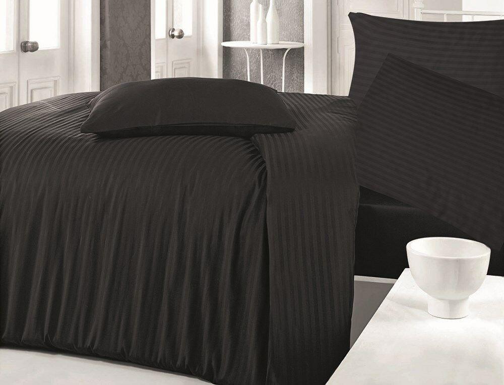 Pościel satynowa 160x200 Cizgili Black pasy czarna jednobarwna Luxury Darymex