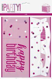 Unique Party 83929 83929-Glitz różowe i srebrne pudełka na przyjęcia, opakowanie 6 sztuk, różowe, Happy Birthday