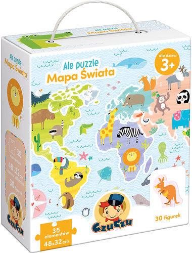 CzuCzu Ale puzzle - Mapa świata +35 elementów + 30 figurek