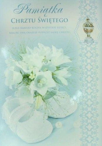 Karnet z okazji Chrztu Świętego, Pamiątka Chrztu Świętego, niebieski ornament B6