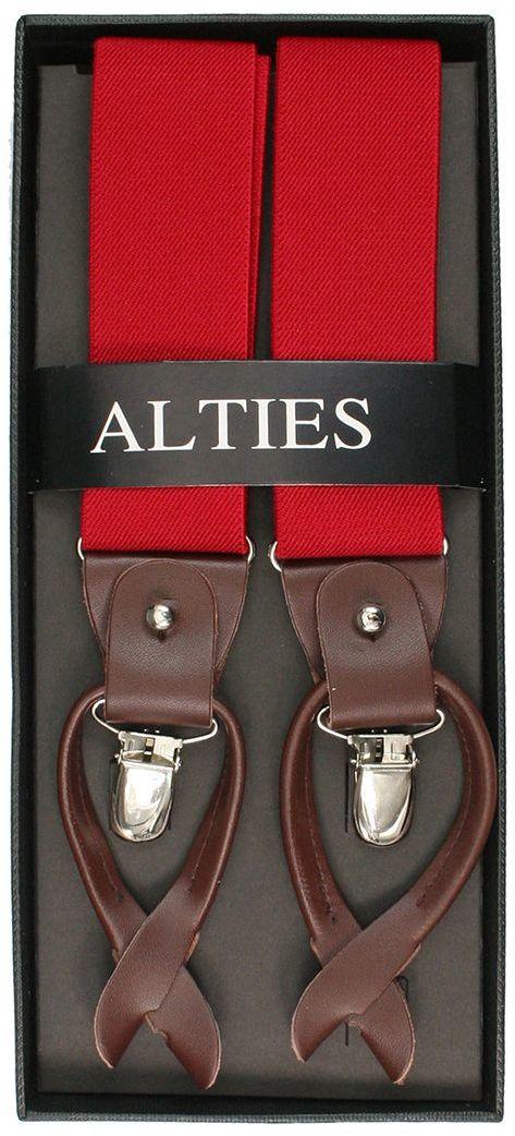 Szelki Klasyczne Czerwone w Tłoczony Wzór Męskie, Zapięcie na Guziki lub Żabki -ALTIES SZALTS0042