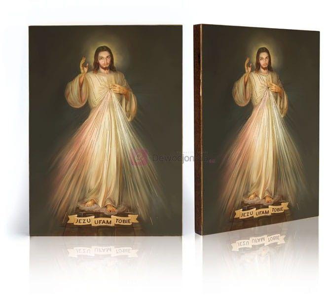 Ikona Jezus Miłosierny - Jezu Ufam Tobie z certyfikatem - 17x23cm